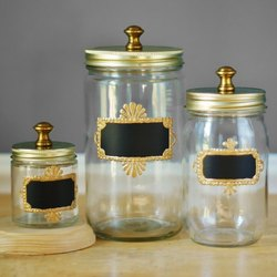 Round Transparent Decorative Goldan kitchen storage Glass jars (3 pices set), Capacity: 1000 Ml