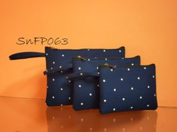 Snf Handcrafted Printed Fabric Set Of 3 Pouches ,