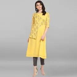 Janasya Women's Yellow Poly Crepe Kurta(JNE3453)