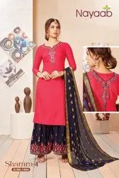 Nayaab Yoke Design Desire Red Kurta With N.Blue Sharara