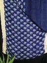 Blue Border Printed Linen Saree, With Blouse Piece, 5.5 M (separate Blouse Piece)
