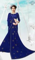 Royal Blue Color Chiffon Saree With Swaroski Work