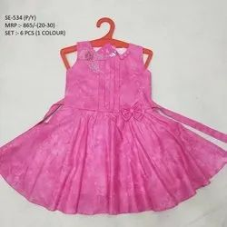 Pink Color Printed  Sleeves Less Long Frock For Girls