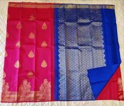 Pink & Blue Color Silk Saree