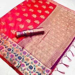 Weaving Border Rupal Saree, With blouse piece, 5.5 m (separate blouse piece)