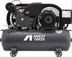 5 HP AC Three Phase Anest Iwata Air Compressor, Maximum Flow Rate (CFM): 17.3, Model Name/Number: LT-50