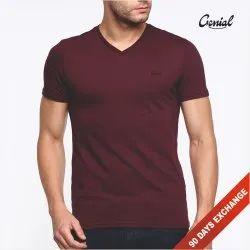 Plain Cotton V Neck T-shirt For Men, Size: S to 2XL