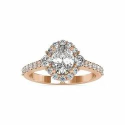 Oval Cut Full White Moissanite Halo with Accent Ring White,Yellow,Rose Gold For Engagement Wedding