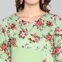 Janasya Women's Light Green Poly Crepe Kurta(JNE3368)