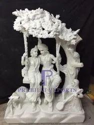 Makrana White Marble Radha Krishna Statue
