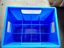 Rectangular Blue Crate for 1000 ml glass bottle, For Storage, Capacity: 12 Piece