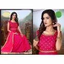 Anarkali Stitched Ladies Sleeveless Designer Silk Suit, Machine Wash