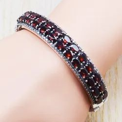 925 Sterling Silver Jewelry Garnet Gemstone Adjustable Bangle Sjwb-3