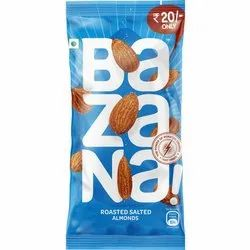 Bazana Roasted Salted Almonds, Packaging Size: 15 gm, Packaging Type: Plastic Pouch