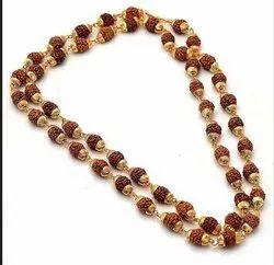 金色108木珠镀金Panchmukhi Rudraksha Mala,精神用途:Japa,Shape:Round