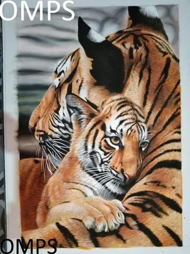 Tiger Handmade Silk Painting