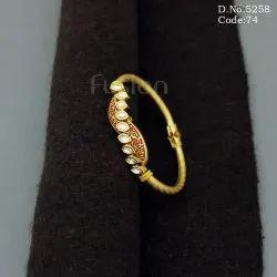 Meenakari Kundan Handmade Openable Brass Bracelet Kada