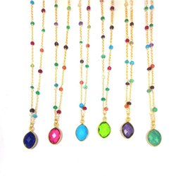 Birthstones Marquise Drops Bezel Pendant Gemstone Bead Necklace
