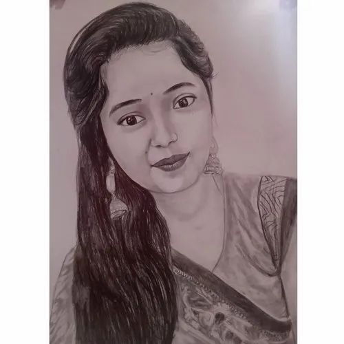 Smooth Black,White Wife Portrait Pencil Sketch, Size: A3