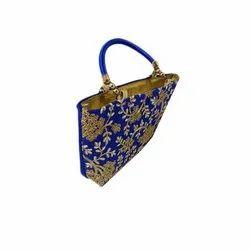Blue Silk Ladies Embroidered Handbag