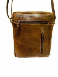 Brown Unisex LEATHER SLING BAG, Size: 31*21cm (l*b)