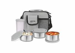 Silver Round Milton Steel Combi Lunch Box With Tumbler, 4-Pieces, Grey, For Home