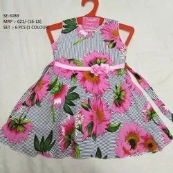 FASHIONABLE FLOWER PRINTED LONG FROCK FOR  GIRLS