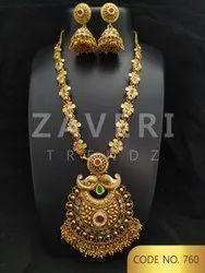 760 High Gold Antique Long Necklace Set