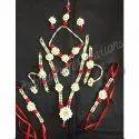 White & Red Wedding Pearls Haldi Jewellery Set