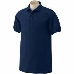 Plain Half Sleeve Navy Blue Polo Neck T Shirt
