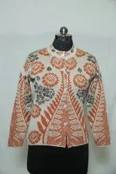 A-123 Woolen Round Neck With Print Cardigan