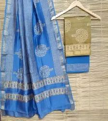 Party Wear Maheshwari handblock printed top n dupatta with cotton bottom