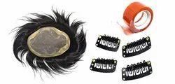Majik Human Hair Wigs For Men And Boys Black/Dark Brown Mono Filament Wigs Pack Of 1