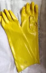 Plain yellow PVC Supported gloves, 16-20 Inches, Finger Type: Full Fingered