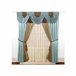 Blue and Brown Silk Decorative Door Curtain, Length: 2.5 Meter