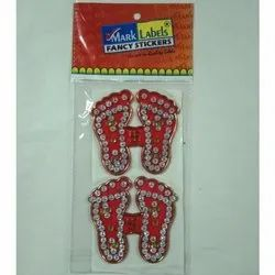 Diamond Acrylic Molded Laxmi Charan Sticker