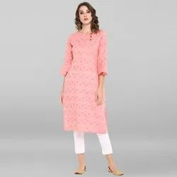 Janasya Women's Pink Pure Cotton Kurta(JNE3420)