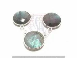 Blue Labradorite Gemstone Bezel, Size: 12 mm