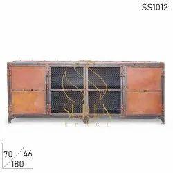 Metal Rustic Finish TV Cabinet Design Indian Industrial Furniture Design