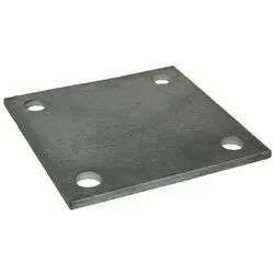 Mild Steel MS Base Plate, Size: Phi 9mm(bore), 80x80mm