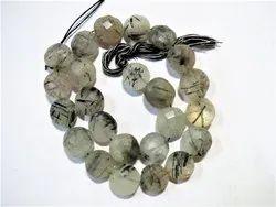 12 Strand Black Rutile Quartz Faceted Coin Semi Precious Stone Beads
