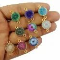 Solar Quartz Gold Electroplated Connector Charms, 13-14mm Round Solar Druzy Connector