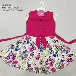 Flower Printed Fancy Sleeves Less Long Frock For Girls