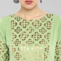 Janasya Women's Light Green Poly Crepe Kurta(JNE3364)