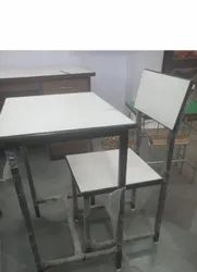 Modern Wooden Rastogi Steel Single Seater Table Chair Set, For School & Colleges, Back Style: Back Supported