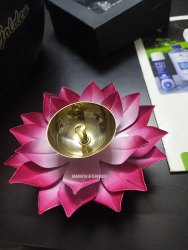 Decorative Colorful Floral Metal Diya for Diwali Decoration