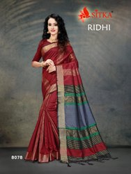 Border Party Wear Synthetic Saree, 6.3 m (with blouse piece)