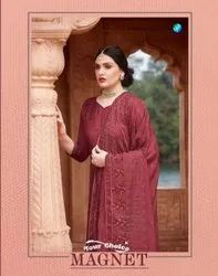 Your Choice Magnet Straight Chinnon Fabric Straight Suits Catalog
