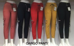 Cotton/Linen BLACK RED RELLOW & BLUE CARGO PANTS, Size: Free