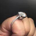 Round Cut Full White Moissanite Ring White,Yellow,Rose Gold For Engagement, Wedding